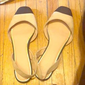 Zara nude and black faux suede sling backs.